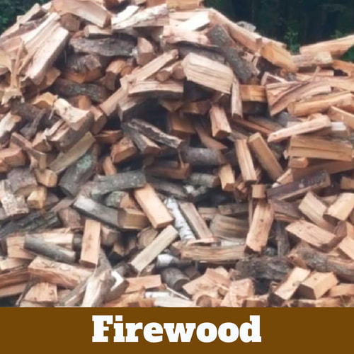 Pile of pre-chopped and split wood for fire